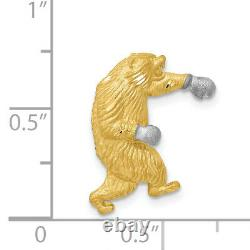 14k Yellow Gold Standing Bear With Rhodium Boxing Gloves Chain Slide