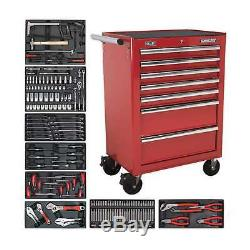 1x Sealey 7 Drawer Red Rollcab With Ball Bearing Slides & Tool Kit TBTRCOMBO