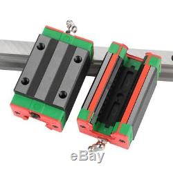2X HGR20 400mm Bearing Linear Guide Rail Slide with Rail Block Nut Kit for CNC