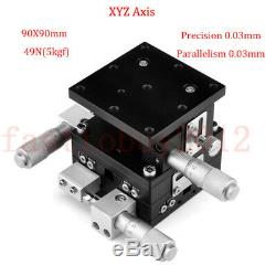 3 Axis XYZ Linear Stage Trimming Platform Bearing Tuning Sliding Table 9090MM