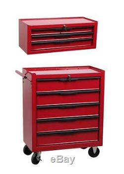 8 Drawer Tool Box Stack roller cabinet and mid tool chest ball bearing slides