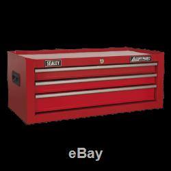 AP223 Sealey Mid-Box 3 Drawer with Ball Bearing Slides Red Tool Chests