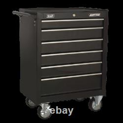 AP226B Sealey Rollcab 6 Drawer with Ball Bearing Slides Black Tool Chests