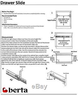 Ball Bearing Full Extension 22Soft Close Drawer Slide with Rear Bracket 10 Pair