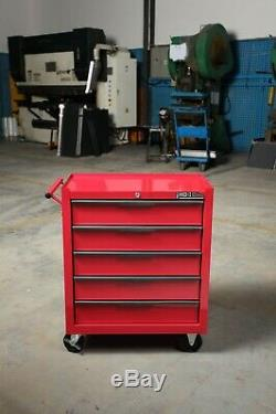 Hilka Heavy Duty Red 5 Drawer Tool Storage Trolley with Ball Bearing Slides