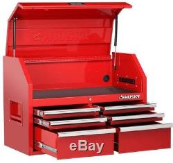 Husky 36 6-Drawer Secure Latch Steel Red Top Storage Chest Ball Bearing Slides
