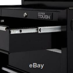 Hyper Tough 4-Drawer Rolling Tool Cabinet with Ball-Bearing Slides 26W Black
