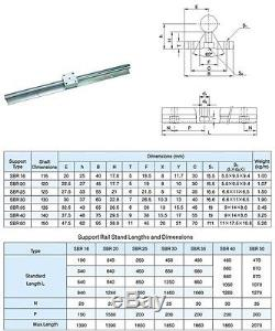 Linear slide guide SBR12-200/16-500/20-800mm 6rail+12sbruu bearing block CNC set