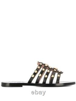 Love Moschino Sliders Black And Gold Teddy Bear flip flop slides shoes 3.5 New