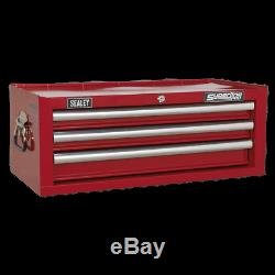 Mid-Box 3 Drawer with Ball Bearing Slides Red Sealey AP33339