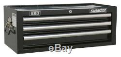 Mid-box 3 Drawer With Ball Bearing Slides Black From Sealey Ap33339b Syd