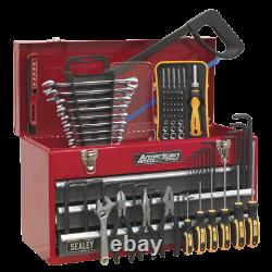 Portable Tool Chest 3 Drawer with Ball Bearing Slides Red/Grey & 93pc Tool Kit