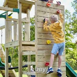 Rebo Wooden Climbing Frame with Vertical Rock Wall, Swing Set and Slide