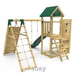 Rebo Wooden Climbing Frame with Vertical Rock Wall, Swing Set and Slide Bear