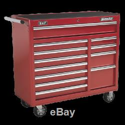 Rollcab 12 Drawer with Ball Bearing Slides Heavy-Duty Red Sealey AP41120