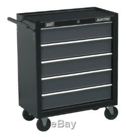 Rollcab 5 Drawer With Ball Bearing Slides Black/grey From Sealey Ap2505b Syd
