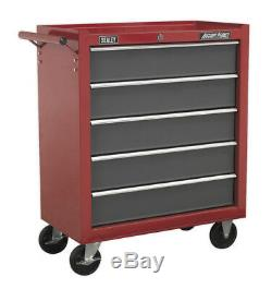 Rollcab 5 Drawer With Ball Bearing Slides Red/grey From Sealey Ap22505bb Syd