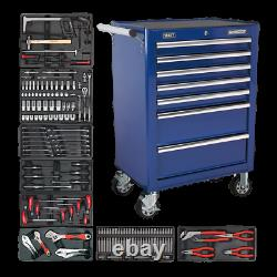 Rollcab 7 Drawer Ball Bearing Slides Blue with 156pc Tool Kit Sealey TBT