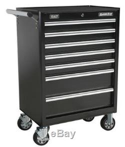 Rollcab 7 Drawer With Ball Bearing Slides Black From Sealey Ap33479b Syd