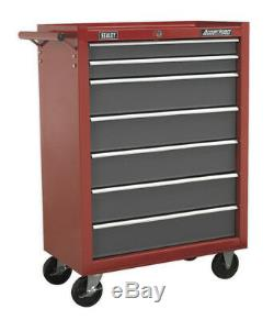 Rollcab 7 Drawer With Ball Bearing Slides Red/grey From Sealey Ap22507bb Syd