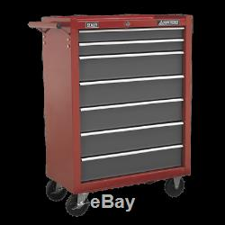 Rollcab 7 Drawer with Ball Bearing Slides Red/Grey UK SEALEY STOCKIST