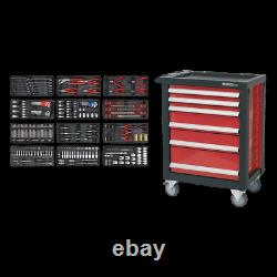 SWS20 Toolbox Rollcab 6 Drawer with Ball Bearing Slides RED 298pce TOOLKIT