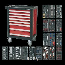 SWS20 Toolbox Rollcab 8 Drawer with Ball Bearing Slides RED 707pce TOOLKIT