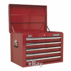 Sealey AP26059T Topchest 5 Drawer with Ball Bearing Slides Red #C482B