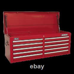 Sealey AP5210T Topchest Tool Box 10 Drawer Red Ball Bearing Runners Slides New