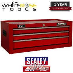 Sealey American Pro Mid-Box 3 Drawer with Ball-Bearing Slides Red