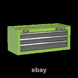 Sealey Mid-Box 3 Drawer with Ball Bearing Slides Green/Grey 1 Year Warranty
