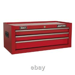 Sealey Mid-Box 3 Drawer with Ball Bearing Slides Red