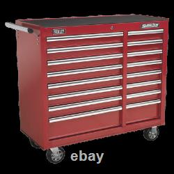 Sealey Rollcab 16 Drawer with Ball Bearing Slides Heavy-Duty-Red 1 Year Warranty