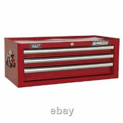 Sealey Superline Pro Mid-Box 3 Drawer with Ball Bearing Slides Red