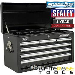 Sealey Superline Pro Topchest 6 Drawer with Ball Bearing Slides Black