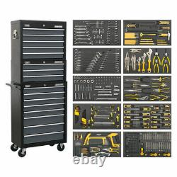 Sealey Tool Chest 16 Drawer with Ball Bearing Slides-Black/Grey-420pc Tool Kit