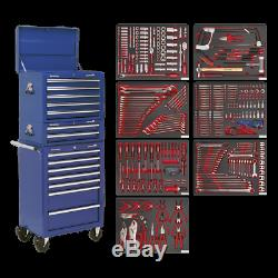Sealey Tool Chest Combination 14 Drawer Ball Bearing Slides -Blue&446pc Tool Kit