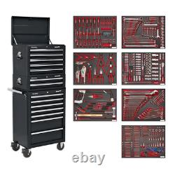 Sealey Tool Chest Combination 14 Drawer with Ball Bearing Slides Black & 446pc