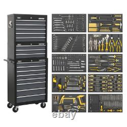 Sealey Tool Chest Combination 16 Drawer with Ball Bearing Slides Black/Grey &