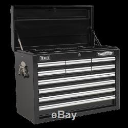Sealey Topchest 10 Drawer with Ball Bearing Slides Black