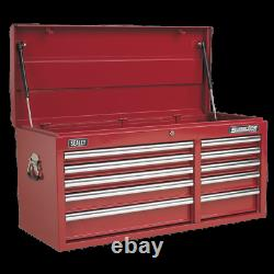 Sealey Topchest 10 Drawer with Ball Bearing Slides Heavy-Duty Red AP41110