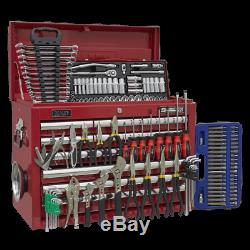 Sealey Topchest 10 Drawer with Ball Bearing Slides Red & 139pc Tool Kit