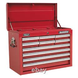 Sealey Topchest 10 Drawer with Ball Bearing Slides Red AP33109 Free P&P