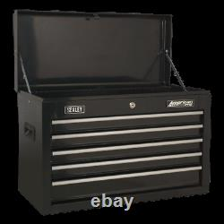 Sealey Topchest 5 Drawer with Ball Bearing Slides Black AP225B 1 Year Warranty