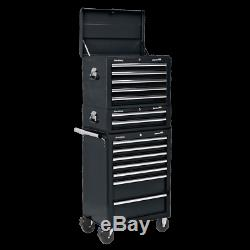 Sealey Topchest, Mid-Box & Rollcab 14 Drawer with Bearing Slides-Black APSTACKTB