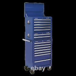 Sealey Topchest, Mid-Box&Rollcab Combination 14 Drawer withBall Bearing Slides-Blue