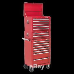 Sealey Topchest, Mid-Box & Rollcab14 Drawer with Bearing Slides-RED APSTACKTR