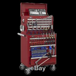 Sealey Topchest&Rollcab Combination 10 Drawer Ball Bearing Slides-Red&147pc Tool
