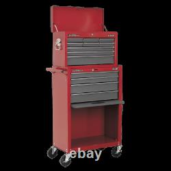 Sealey Topchest&Rollcab Combination 13 Drawer with Ball Bearing Slides-Red/Grey