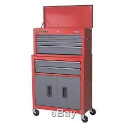 Sealey Topchest & Rollcab Combination 6 Drawer Ball Bearing Slides Red/Grey